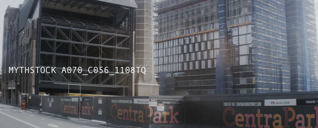 Modern city construction site, shaky hand-held footage