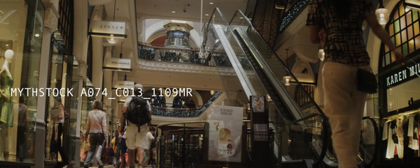 Busy shopping arcade/mall - hand-held shot from ground up (Part 1)