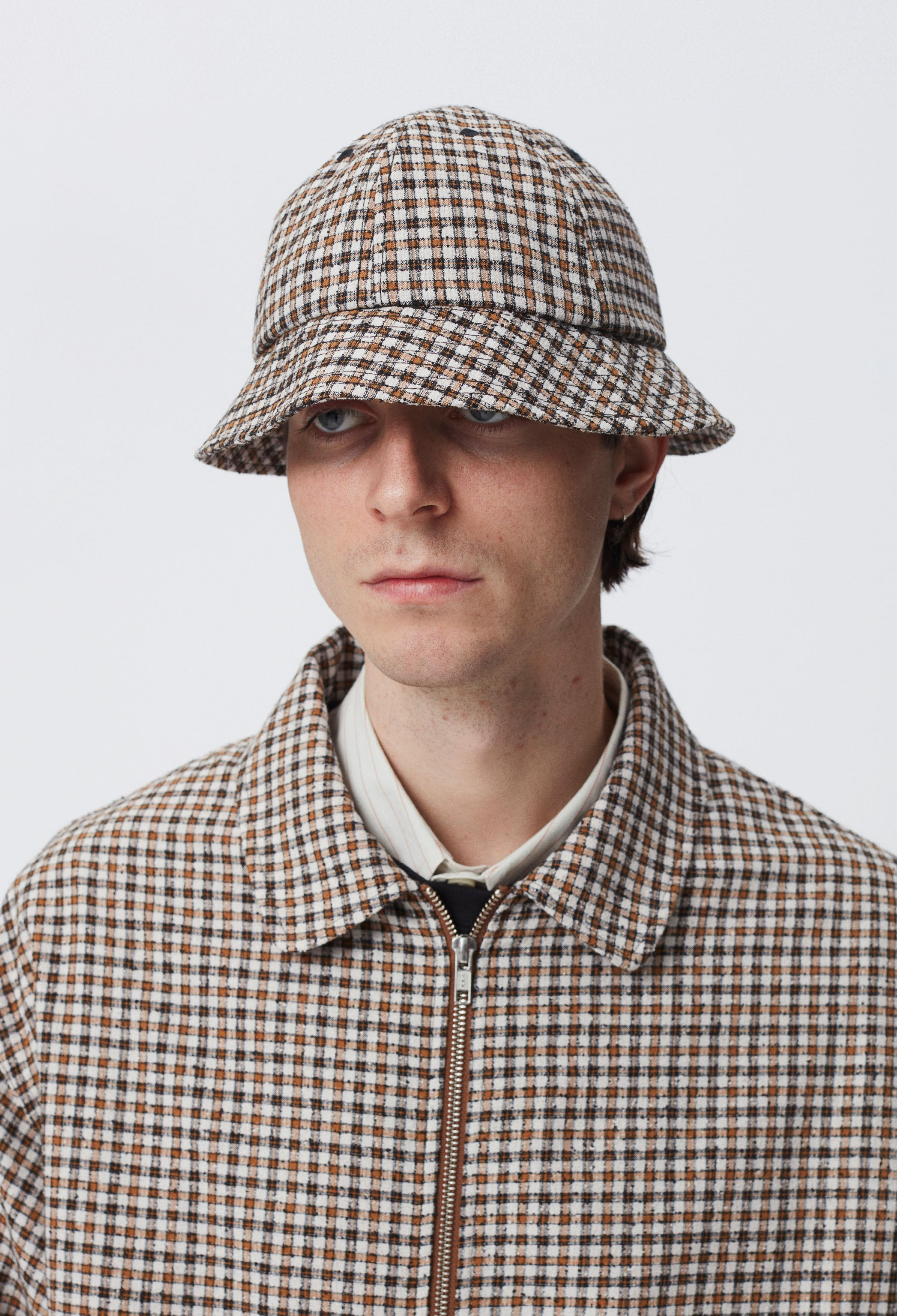 BELL HAT - BROWN CHECK