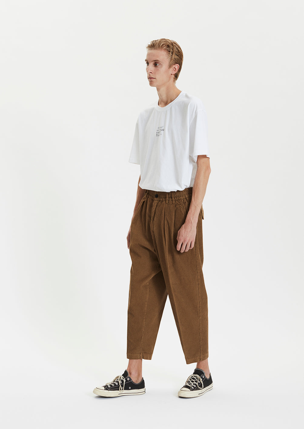 CORD BOX TROUSERS - BROWN