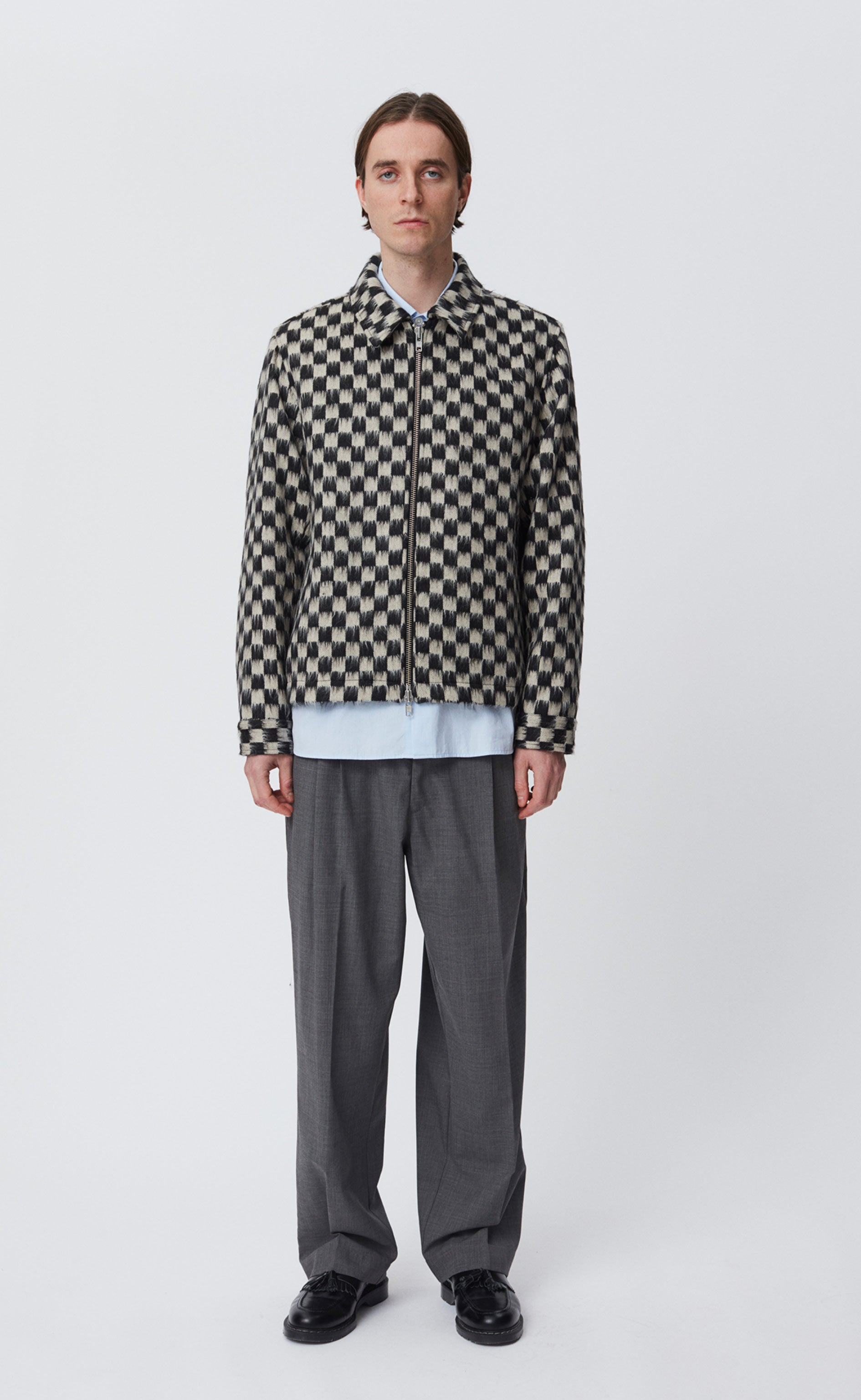 CASHPACA ZIP JACKET - BLACK WHITE CHECK
