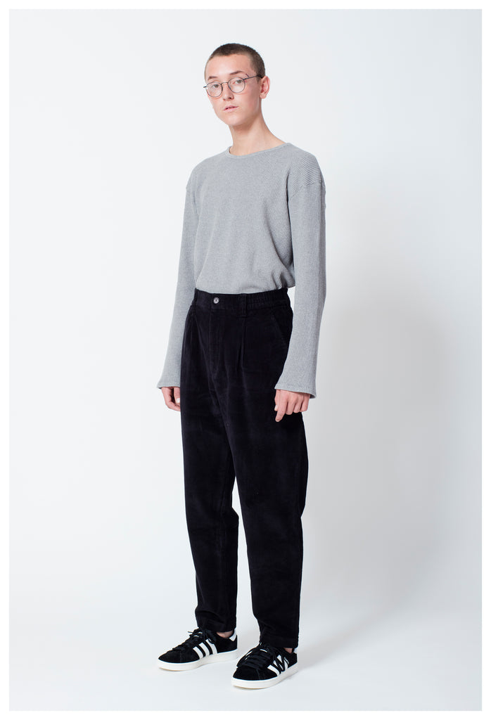 CORD TROUSERS - BLACK