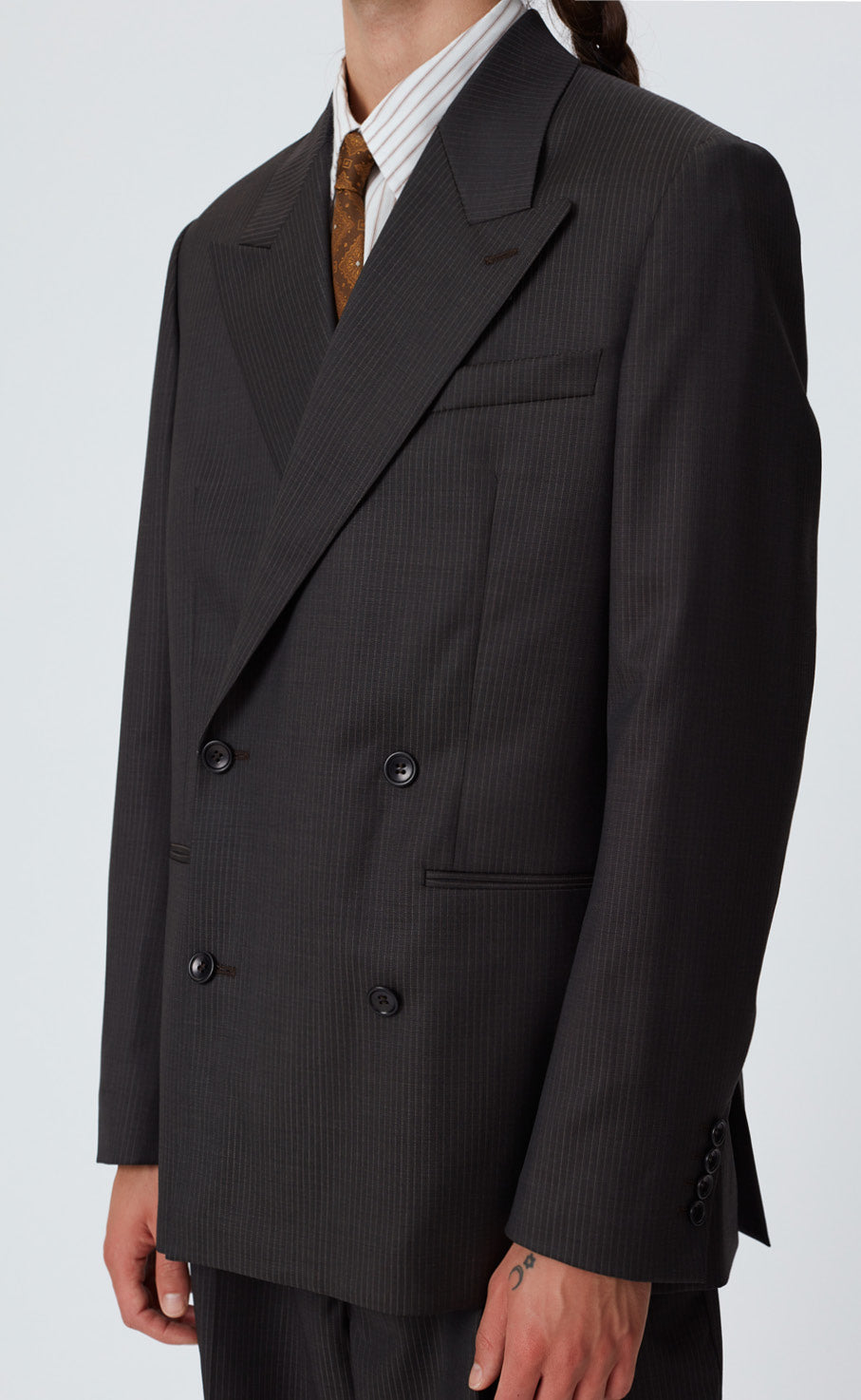 DOUBLE BREASTED BLAZER - PINSTRIPE BLACK