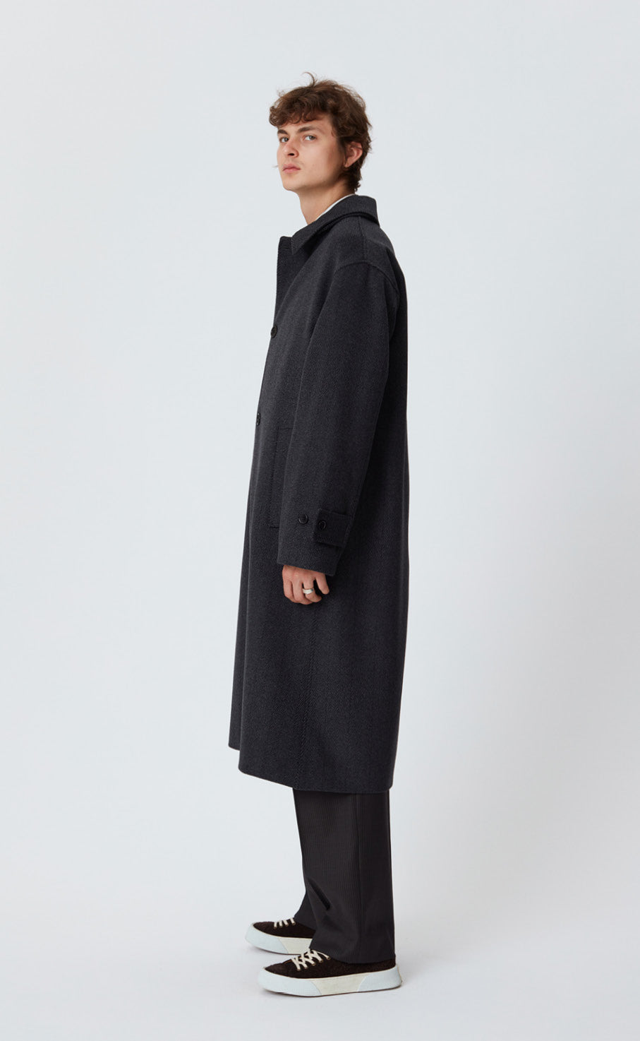 HOLLIS COAT - DARK GREY HERRINGBONE
