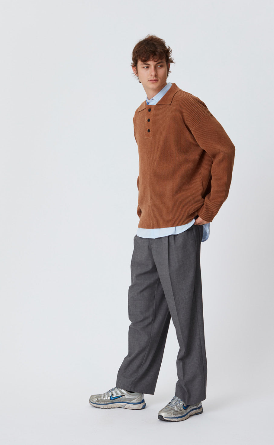 LS POLO KNIT - BROWN HONEY