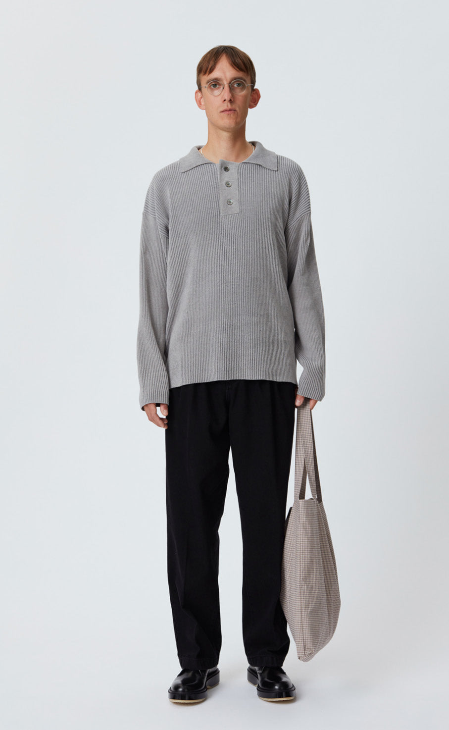 LS POLO KNIT - LIGHT GREY