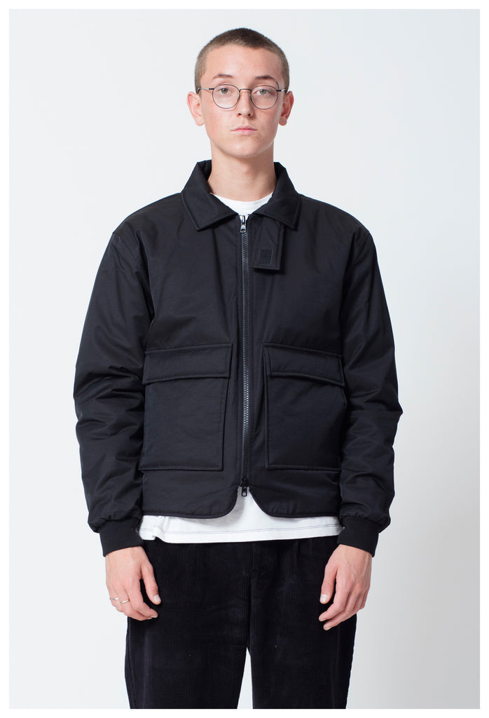 TRESS COLLARED BOMBER - BLACK