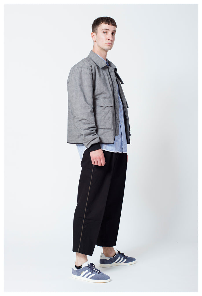 TRESS COLLARED BOMBER - GREY CHECK