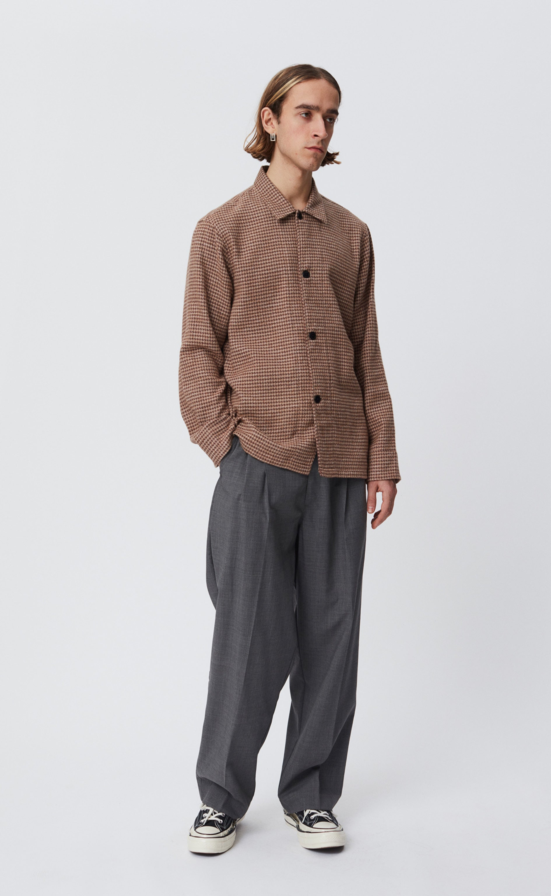 TYPE OVER SHIRT - BROWN CHECK
