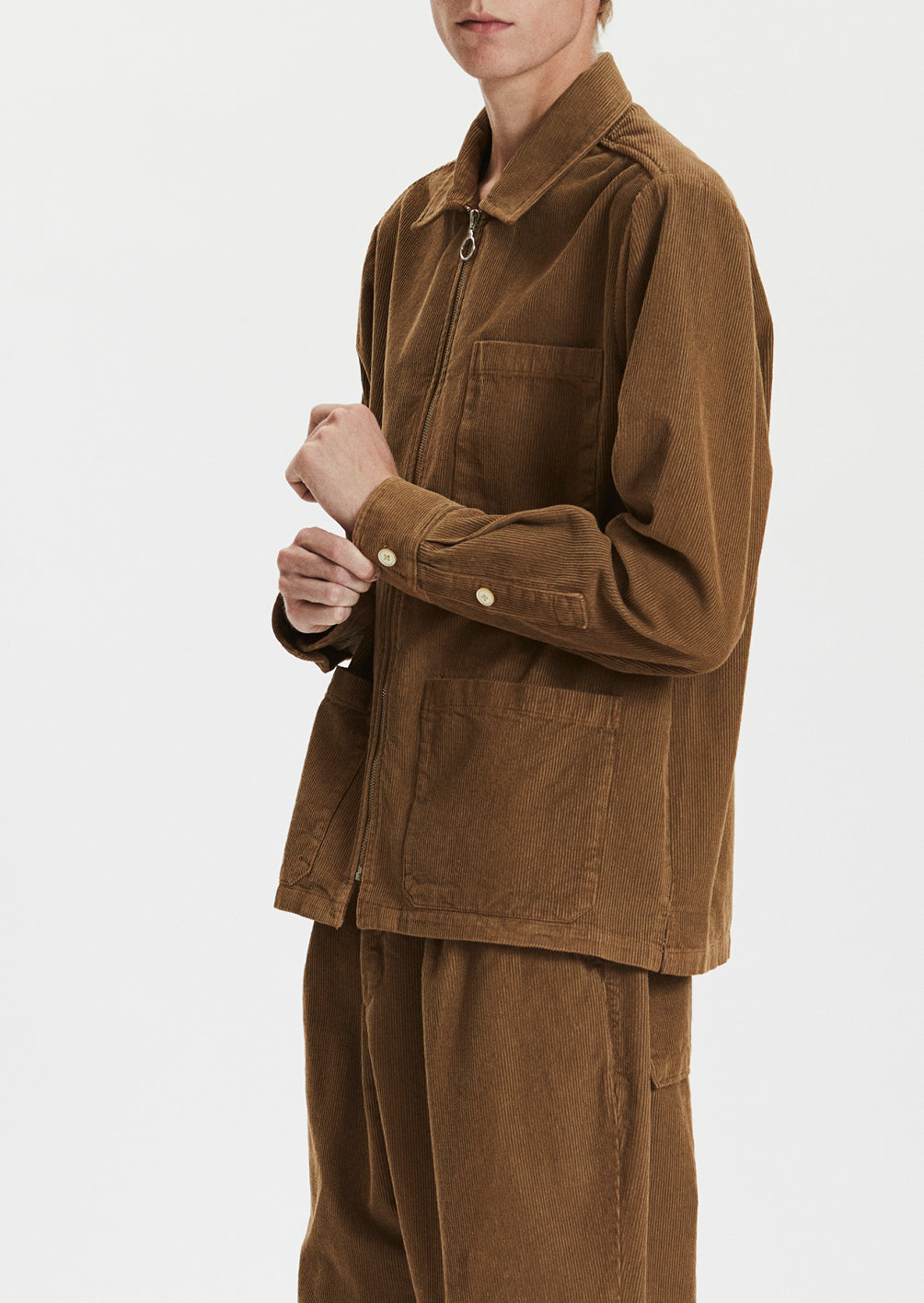 ZIP SHIRT - BROWN