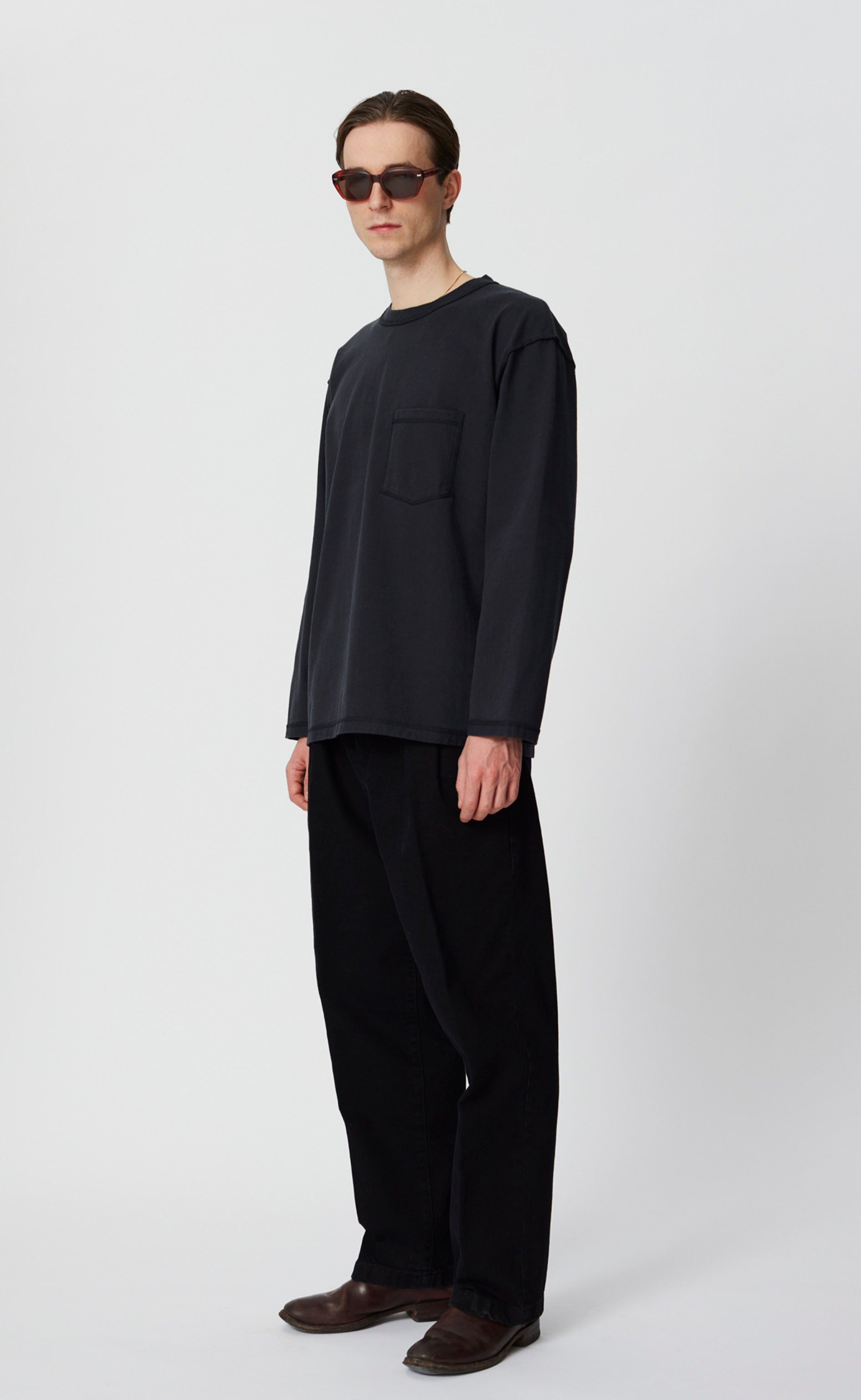 LS POCKET TEE - WASHED BLACK