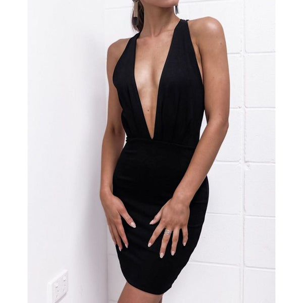 Deep V Neck Backless Criss-Cross Party Dress