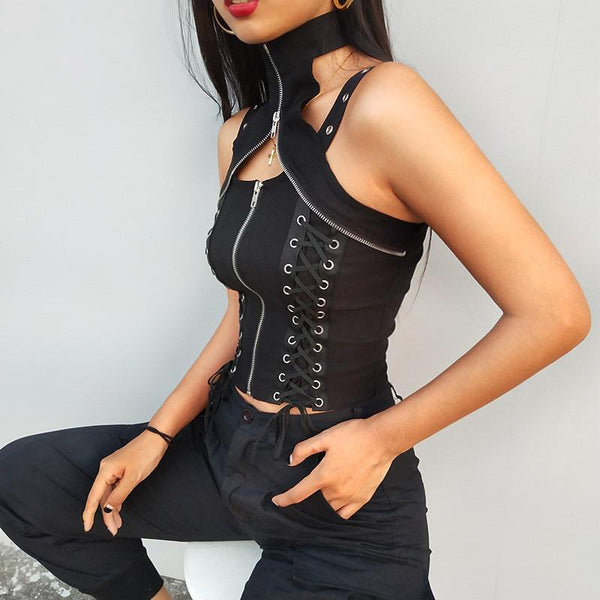 Sexy Lace-up Gothic Tops