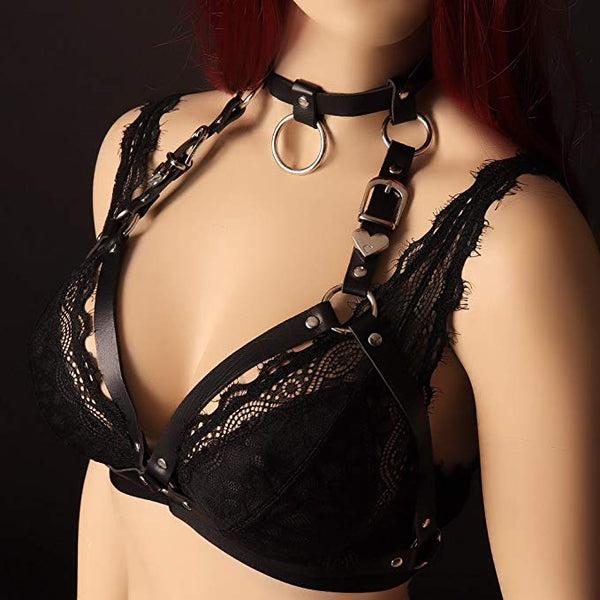 Pixie - Ring Choker Faux Leather Harness