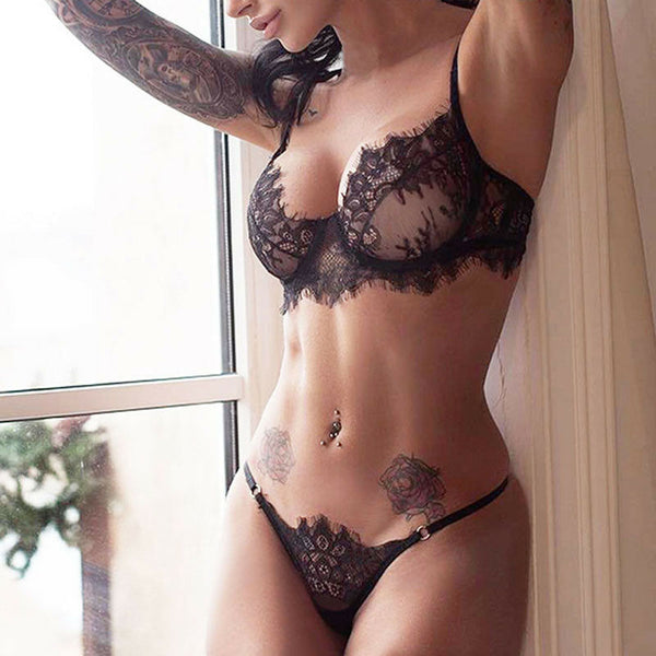 Lace Black Transparent Set