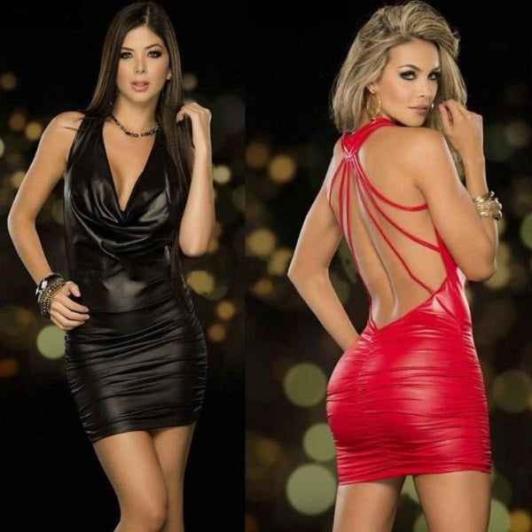 Backless Latex Leather Dress