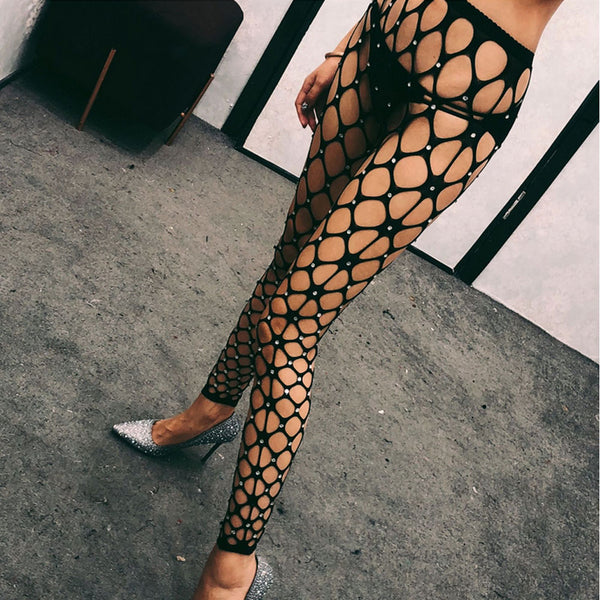 Crystal Rhinestones Bling Net Stockings