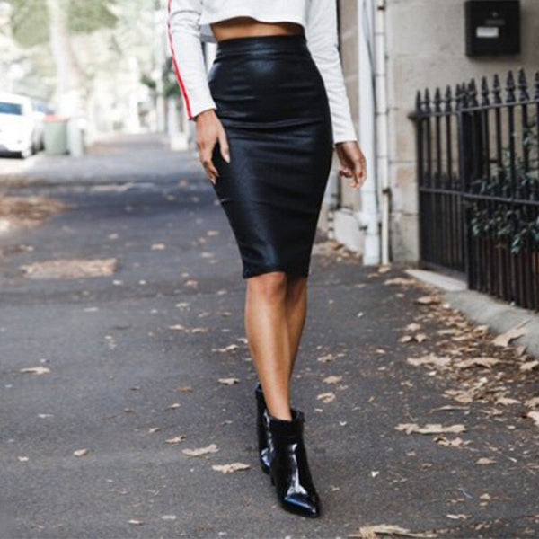 Fashion Back Slit Zip Skirt