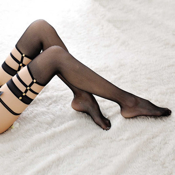 Stretchy Black Fishnet Stockings