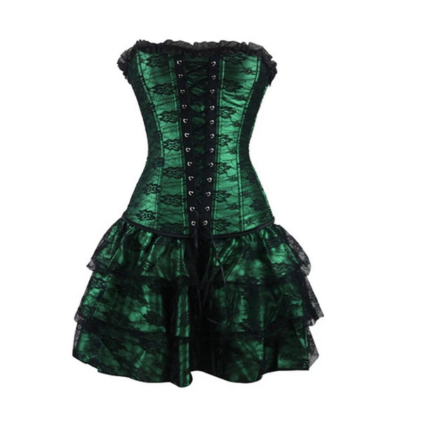 Gothic corset party dress with skirt 4 colors