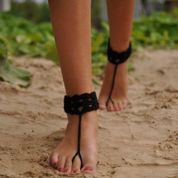 Crochet Barefoot Cotton Anklet