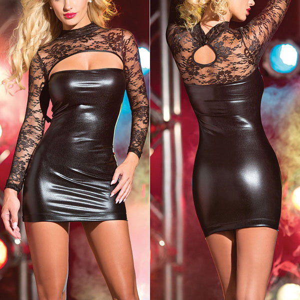 Floral Sleeve Latex Dress