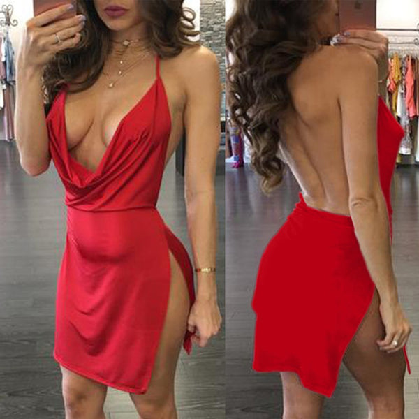 Split V Bodycon Mini Dress