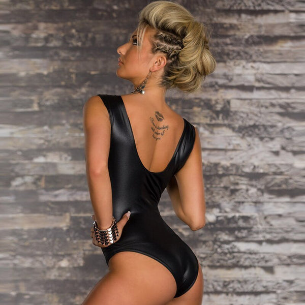 Faux Leather Sexy Bodysuit