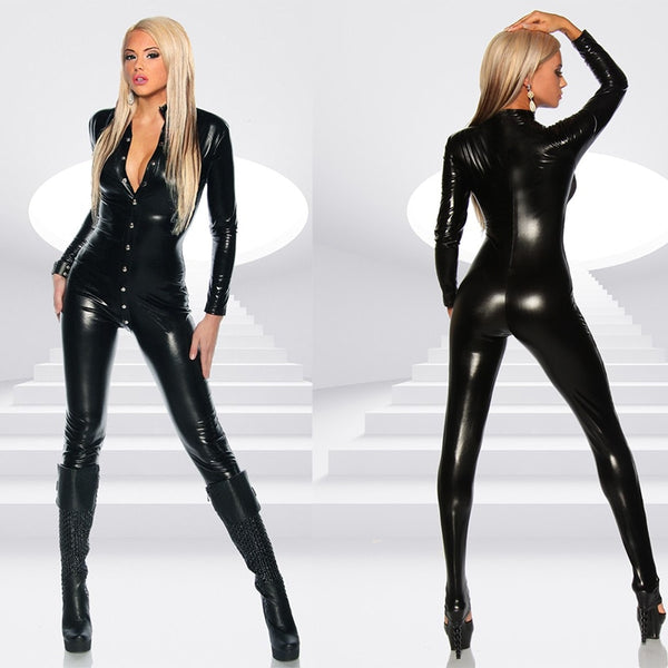 Black Patent Leather Jumpsuit