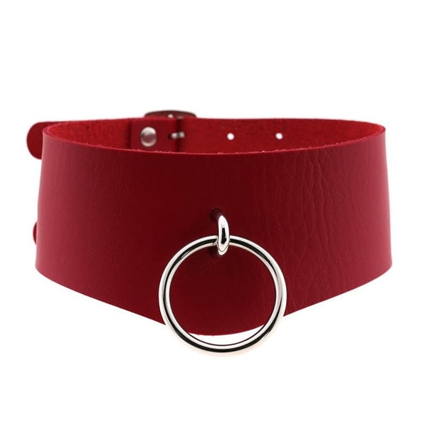 Ring Gothic Leather Collar