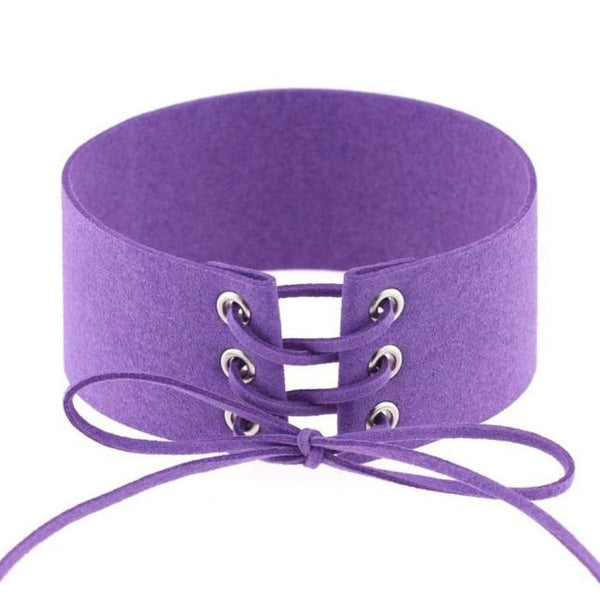 Goth Lace Up Choker Necklace