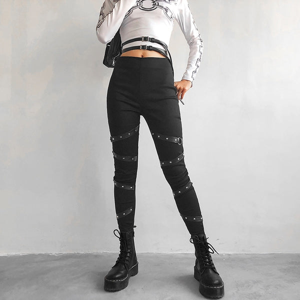 Gothic Belt Punk Pants