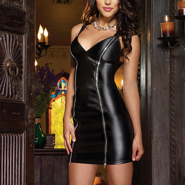 Latex Faux Leather Lingerie Dress