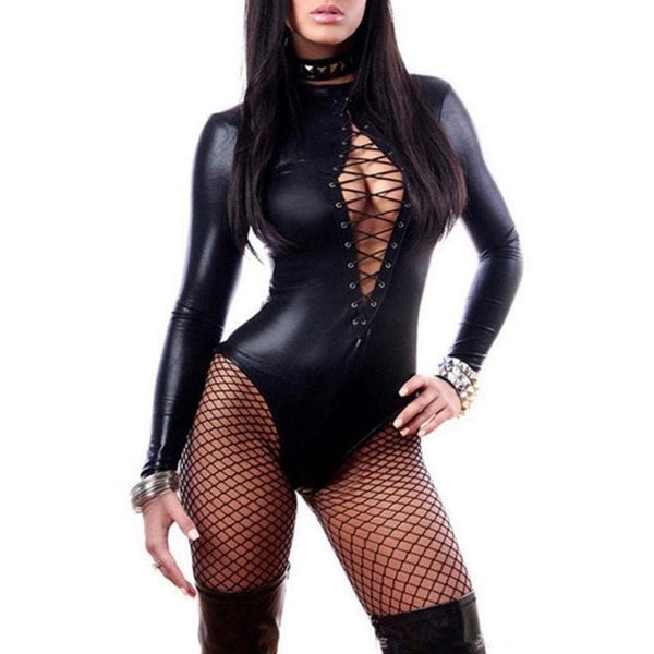Black Vinyl Leather Bodysuits