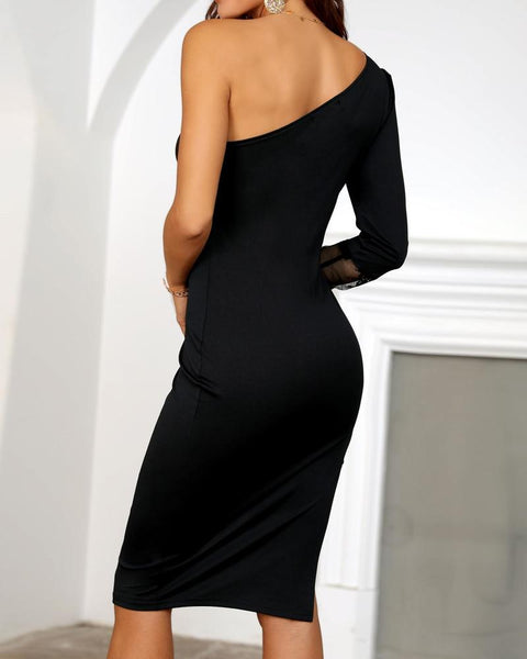 Lady One Shoulder Bodycon Dress