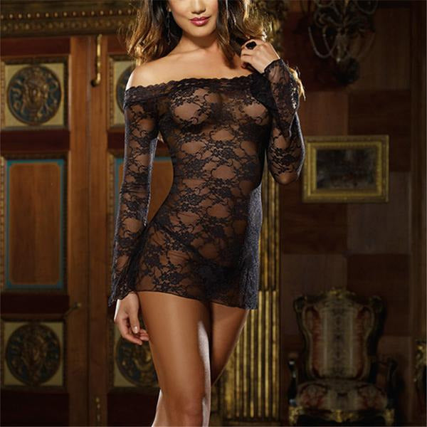 Plus Size Sexy Lace Sleepwear Dress