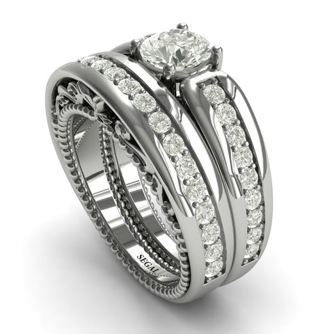Stairway to Heaven Bridal Set Diamond Ring- Gabriella no. 3 - Wide Version