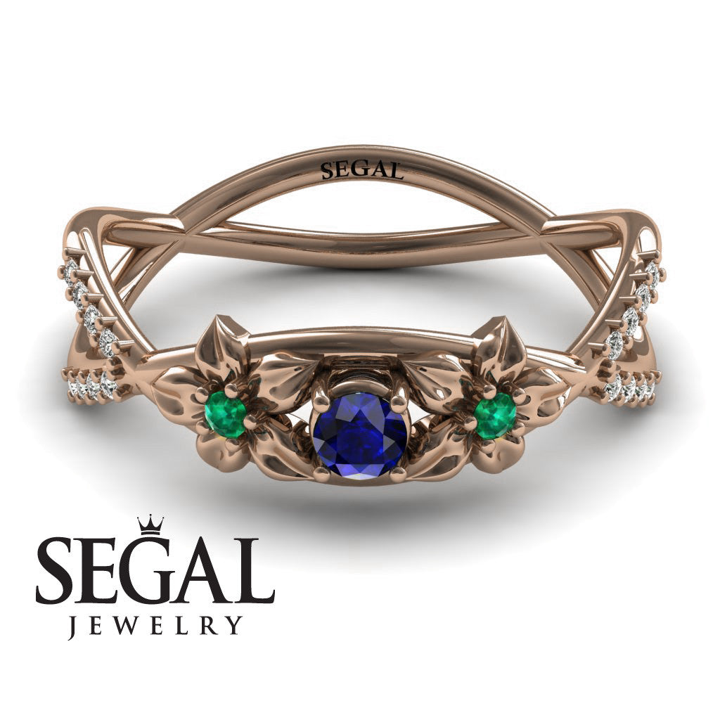 The Two Branch Flowers Blue Sapphire Ring- Annabelle no. 17
