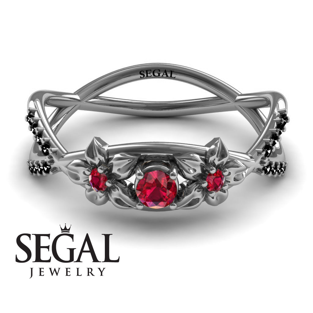 The Two Branch Flowers Red Ruby Ring- Round Cut - 0.03 Carat -Annabelle no. 15