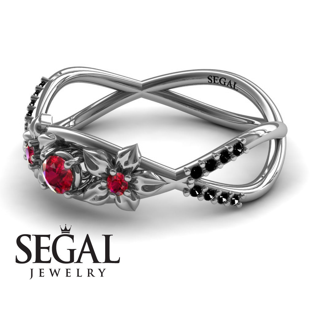 The Two Branch Flowers Red Ruby Ring- Annabelle no. 15