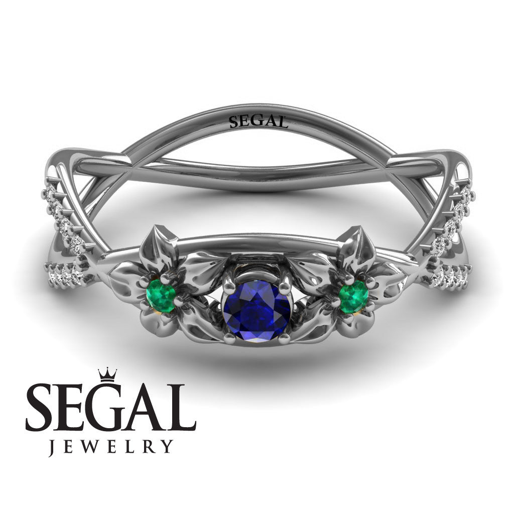 The Two Branch Flowers Blue Sapphire Ring- Annabelle no. 18