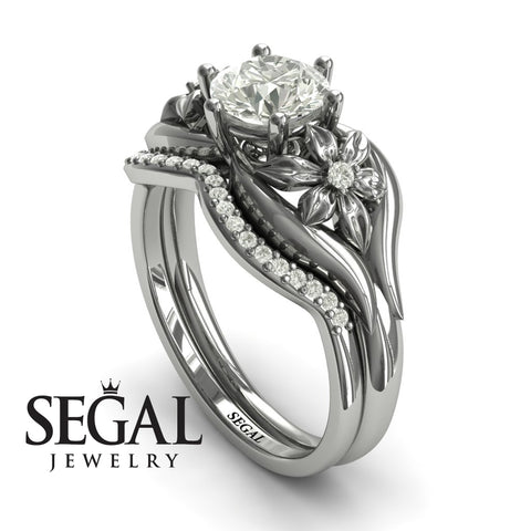Two Seasons Bridal Set Flower Ring Diamond Ring- Bella no. 3