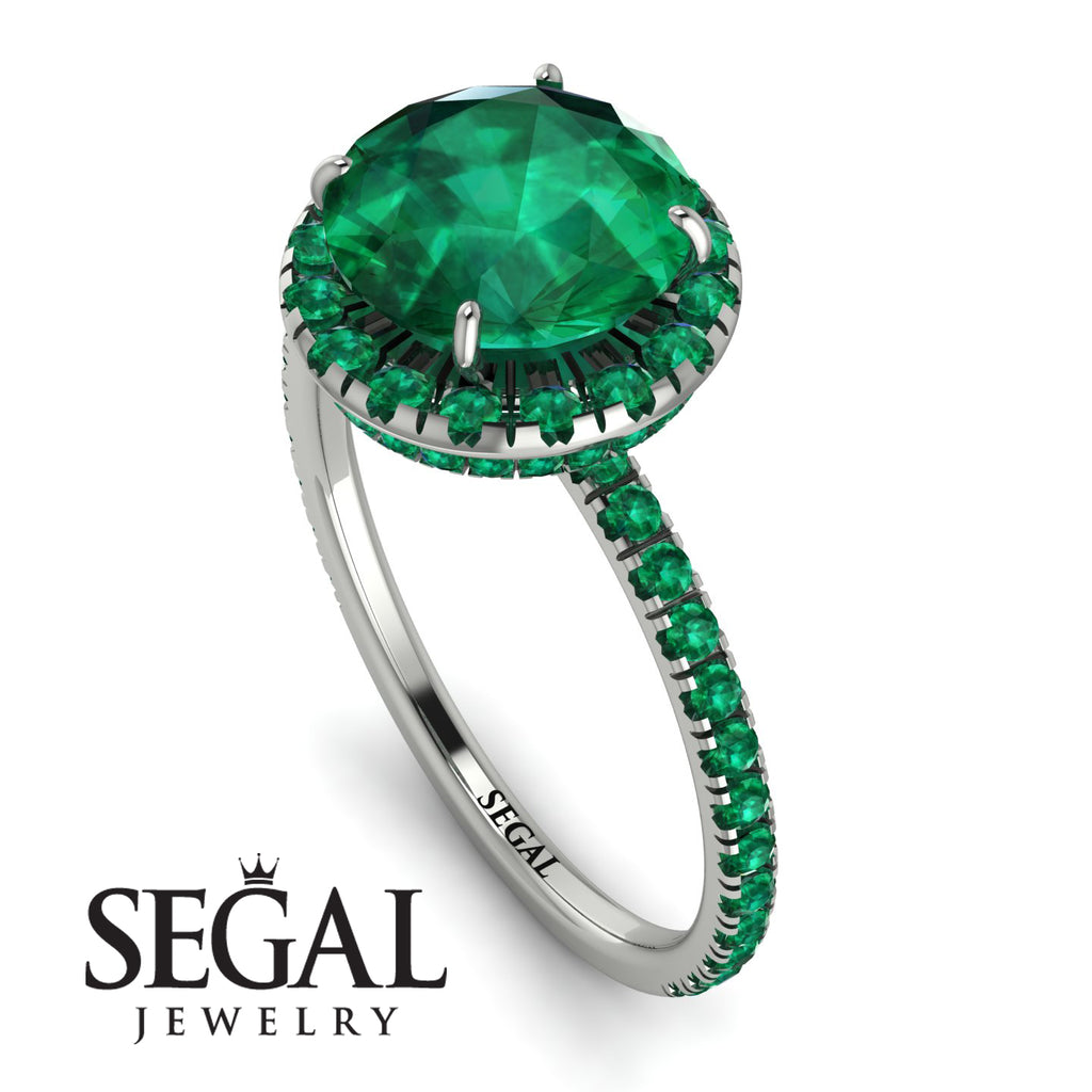 2ct Big Double Hidden Halo Emerald Engagement Ring - Catalina No. 21