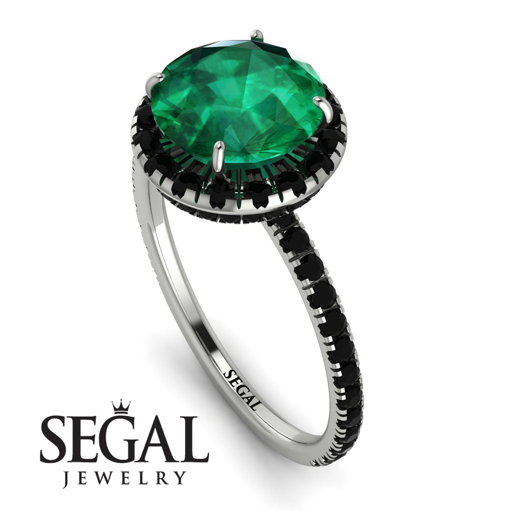 2ct Big Double Hidden Halo Emerald Engagement Ring - Catalina No. 36
