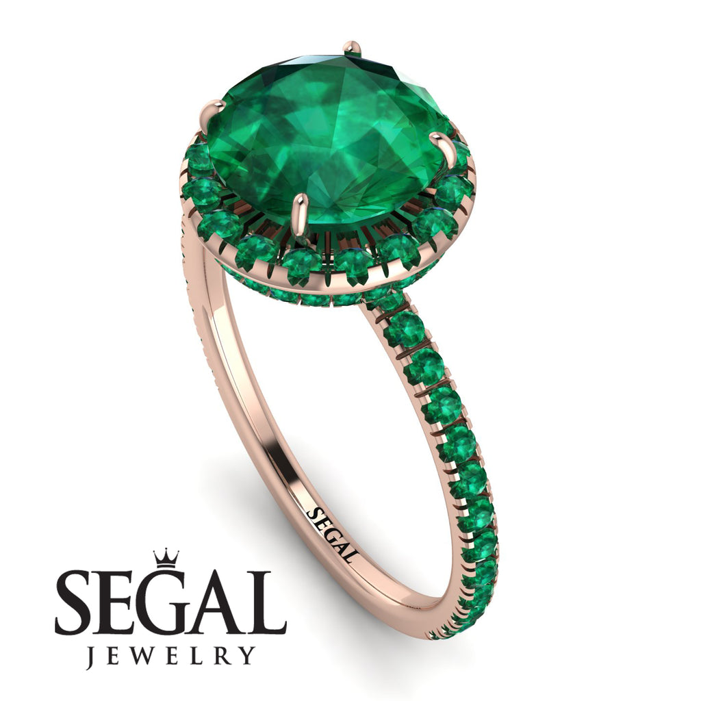 2ct Big Double Hidden Halo Emerald Engagement Ring - Catalina No. 20