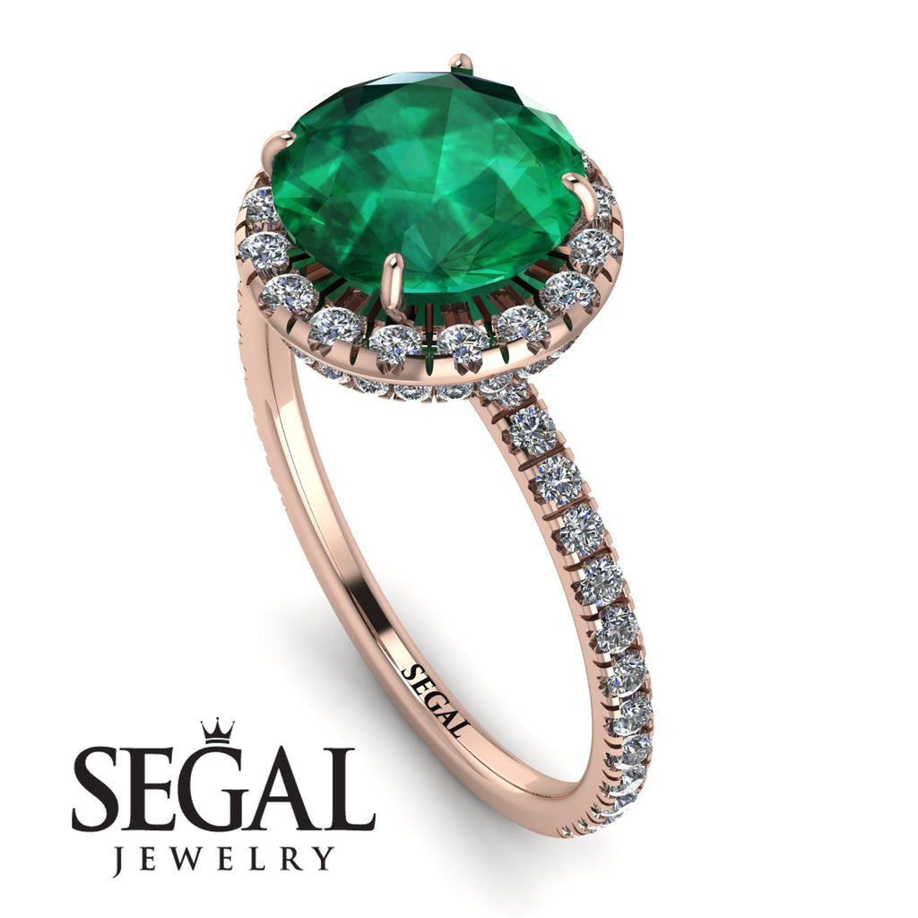 2ct Big Double Hidden Halo Emerald Engagement Ring - Catalina No. 5