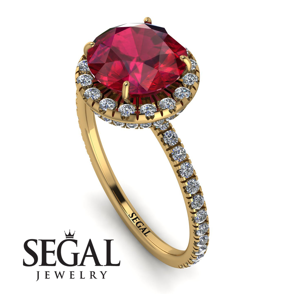 2ct Big Double Hidden Halo Ruby Engagement Ring - Catalina No. 10