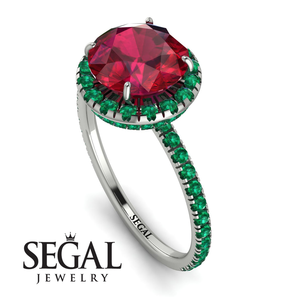 2ct Big Double Hidden Halo Ruby Engagement Ring - Catalina No. 27
