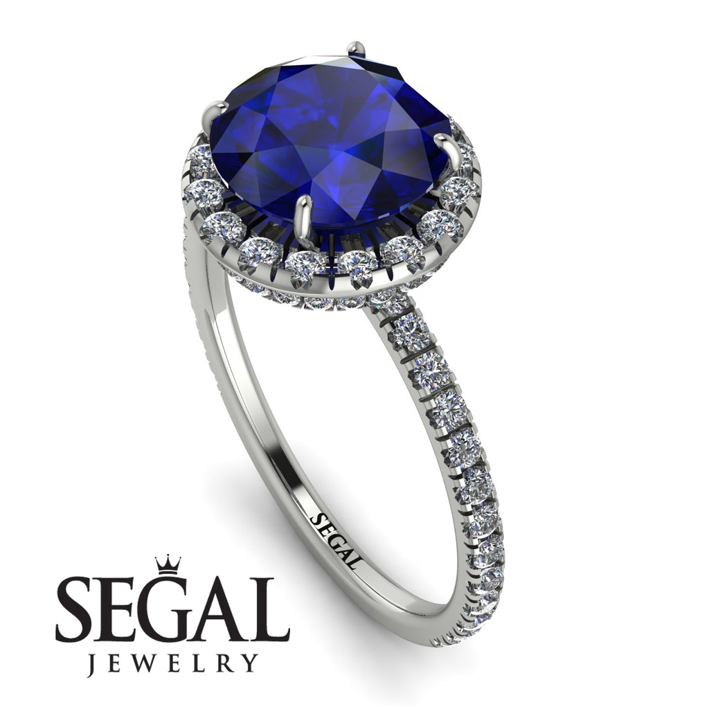 2ct Big Double Hidden Halo Sapphire Engagement Ring - Catalina No. 15