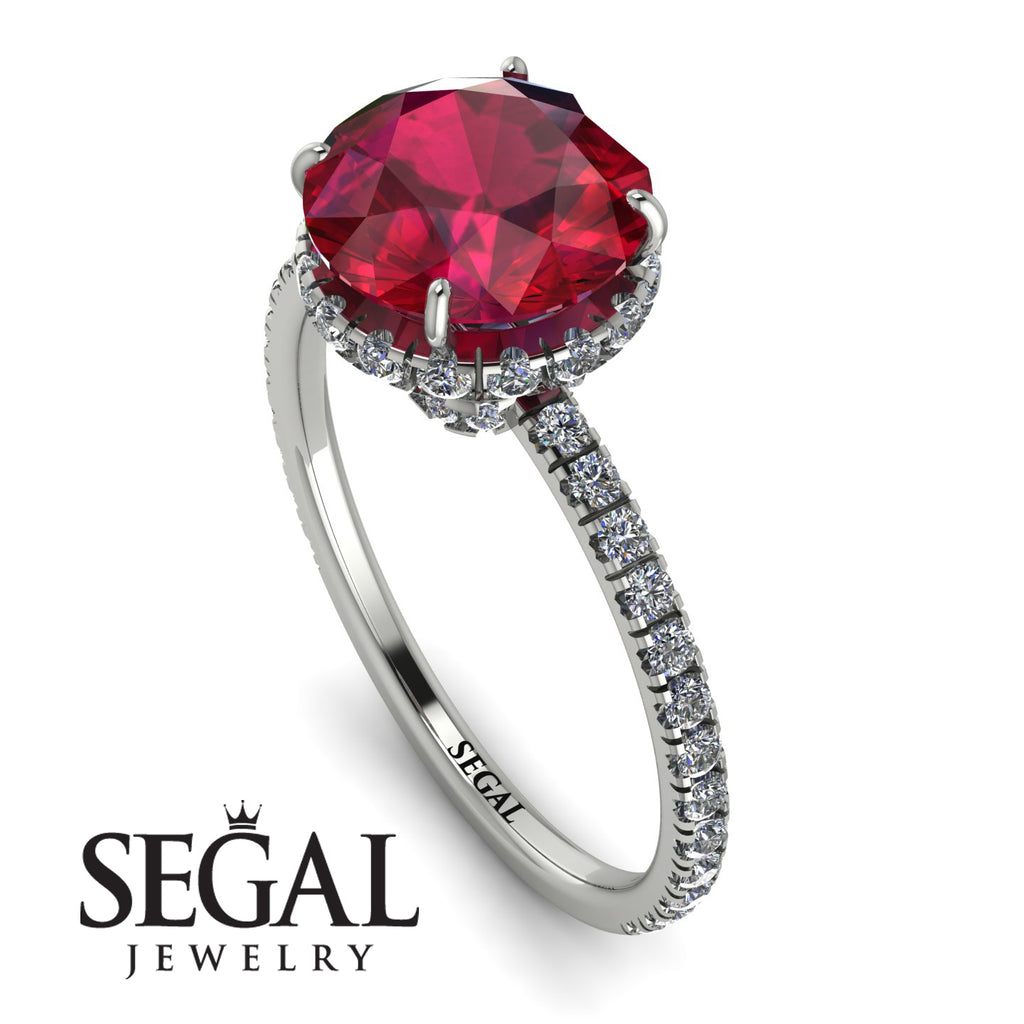 2ct Hidden Halo Ruby Engagement Ring - Adaline No. 12